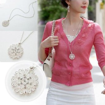 Women Hollow Bunga Liontin Kalung Rantai Panjang Sweater Necklace