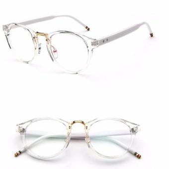 Wanita Pria Kacamata Bingkai Kacamata Retro Spectacles Bening Lensa Kacamata Fashion Putih-Intl