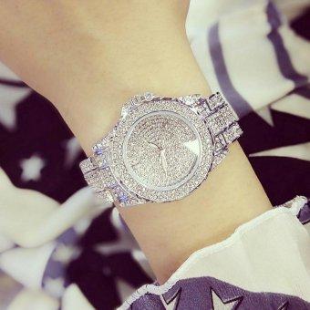 Wanita Mahasiswa Fashion Mewah Diamond Stainless Steel Tahan Air Digital Gelang Watch (Perak)-