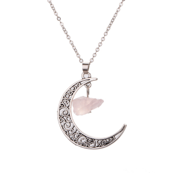 Wanita Liontin Kalung Hollow Out Half Moon Stone Chain Necklace (Pink Batu)