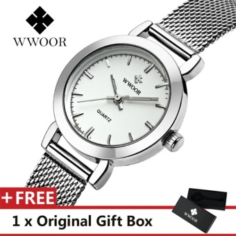 WWOOR Top Luxury Brand Watch Famous Women's Fashion Quartz Watches Waterproof Dress Women Mesh Wristwatch Gift For Female Silver - intl