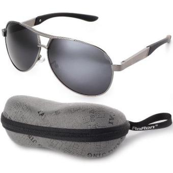 XCSource Men's Polarized Sunglasses Driving Aviator Outdoor Glasses Black Lens+Grey Frame
