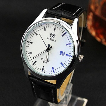 YAZOLE 310 Men Luminous Calendar Business Watches White and Black - intl