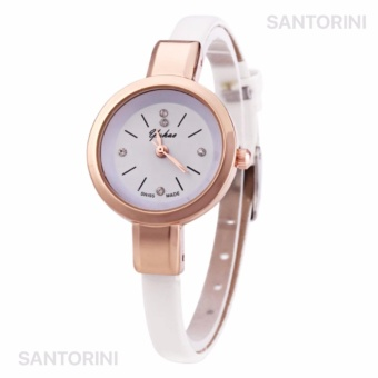 YUHAO Jam Tangan Kulit Fashion Analog Wanita Diamon Style Women Leather Strap Watch - WHITE