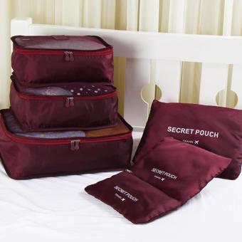 ZeeBee 6 in 1 Travel Organizer Bag / Travel Pouch / Tas Penyimpanan - Wine
