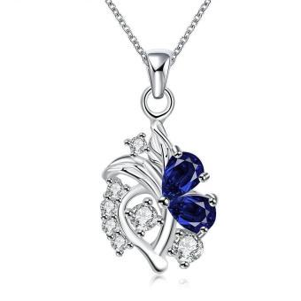 ZUNCLE 925 Perak Berlapis Kalung Merek Desain Pendant Kalung Perhiasan untuk Wanita (Biru)