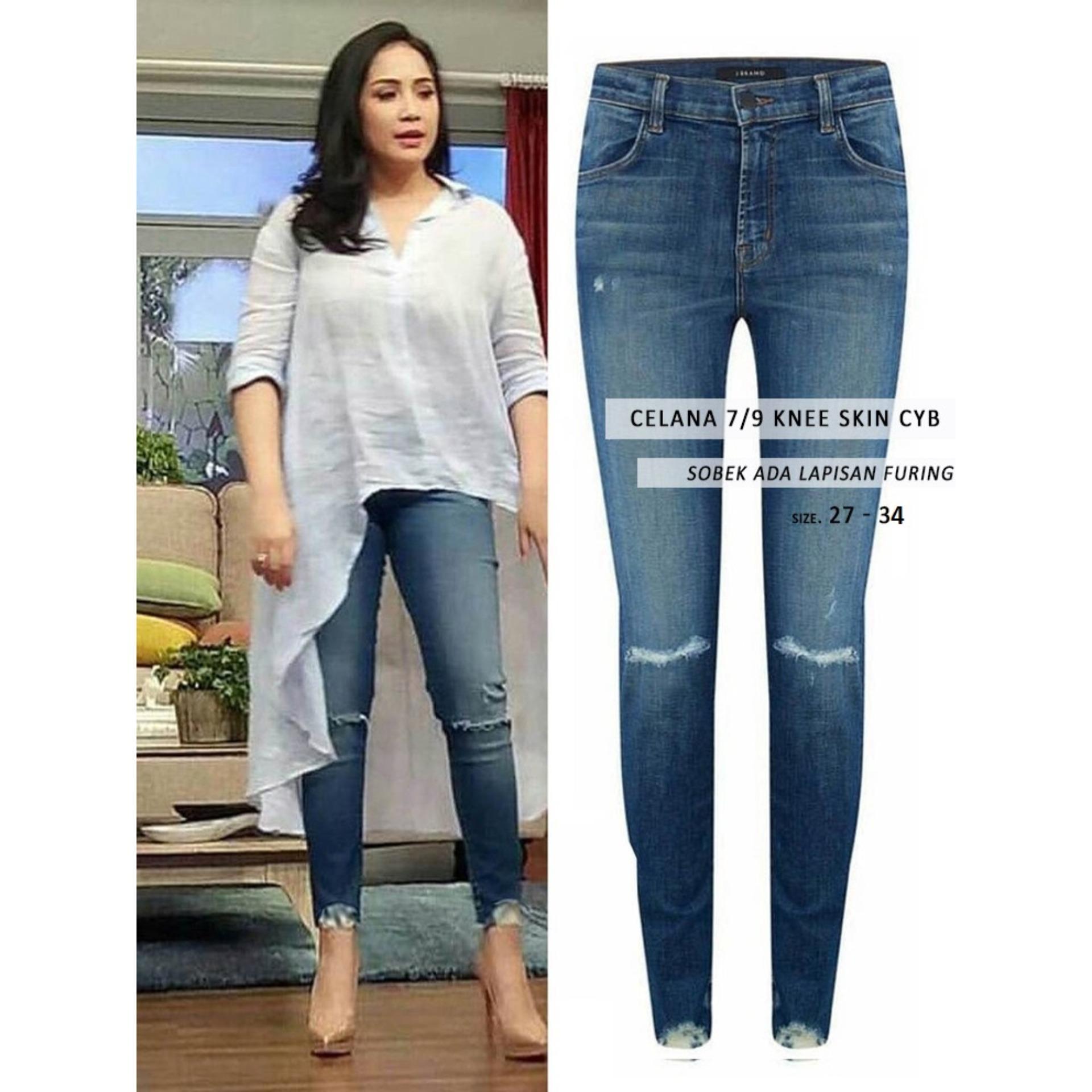 Celana Ripped Jeans - Celana Knee Skin CYB - New Arrival (Sobek Tidak Tembus Kulit