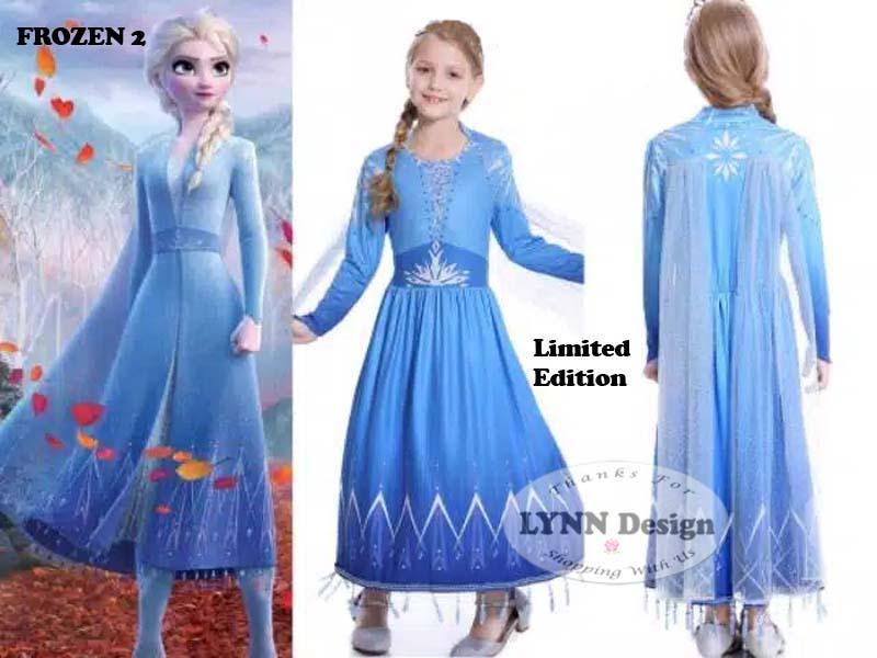 lynn design – baju dress kostum princess frozen 2 elsa anak