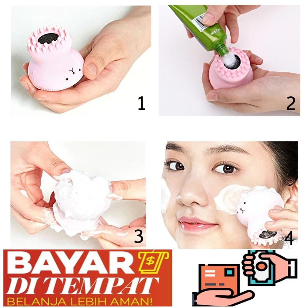 jbs  sikat pembersih wajah / brush cleaner cleansing facial face with silikon bentuk gurita k086
