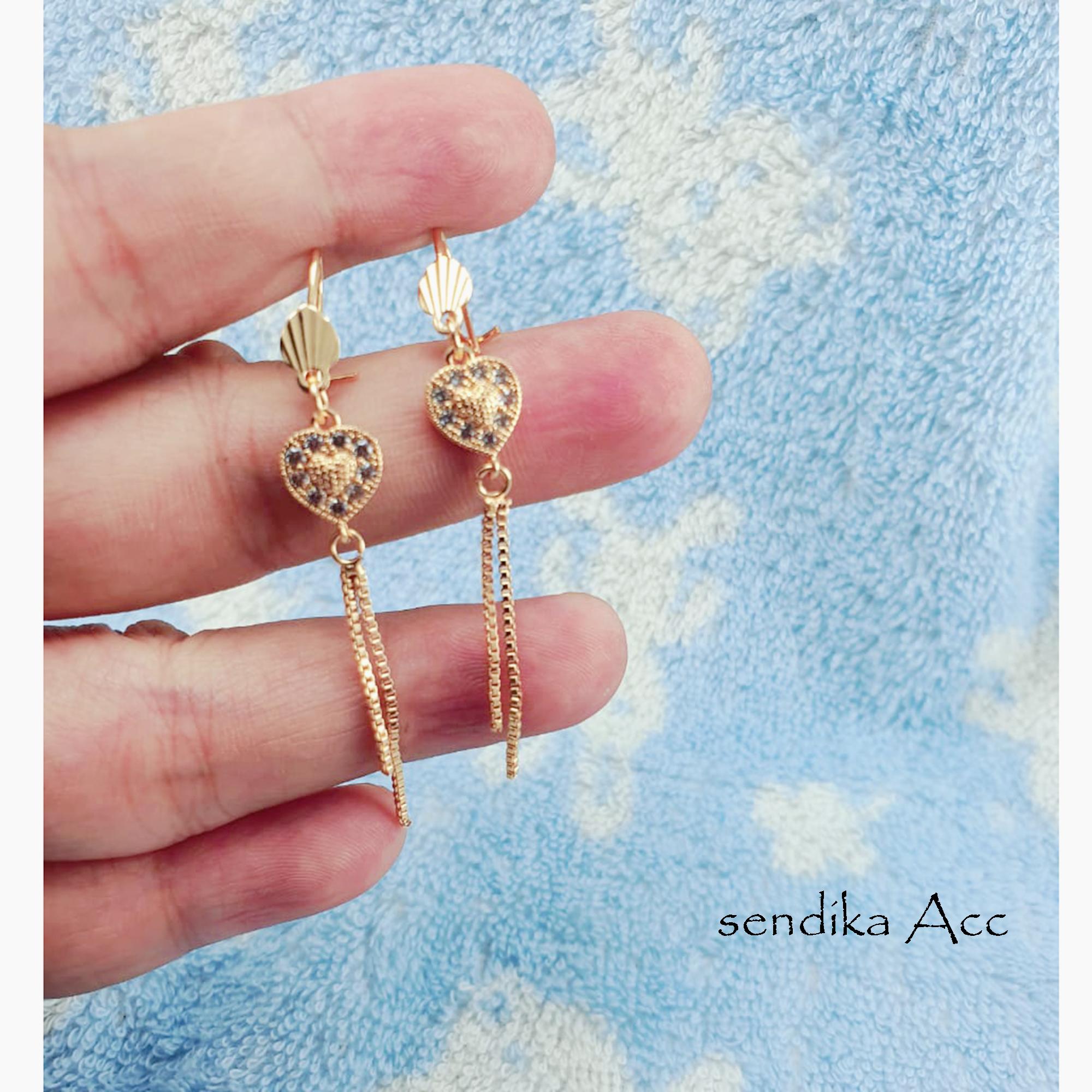 anting xuping 18k motif jurai rose gold tabung tengah ukir perhiasan wanita