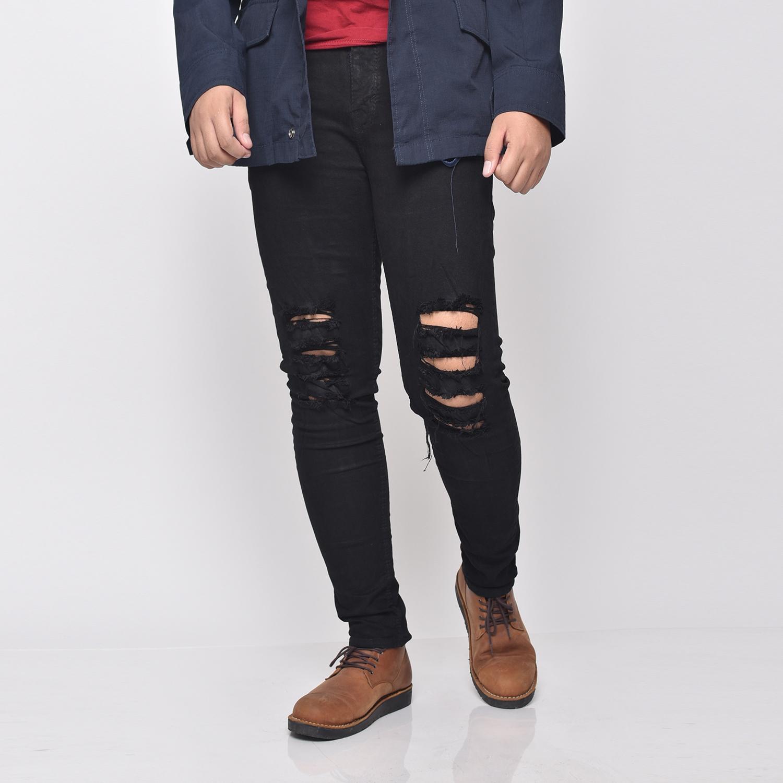 3lstore 1118 celana jeans sobek denim biru skinny/celana jeans hitam polos panjang /celana lepis/celana jeans skinny pria/celana panjang/ celana pria/celana casual/celana denim/celana jeans hitam/jeans polos /celana jeans pensil hitam