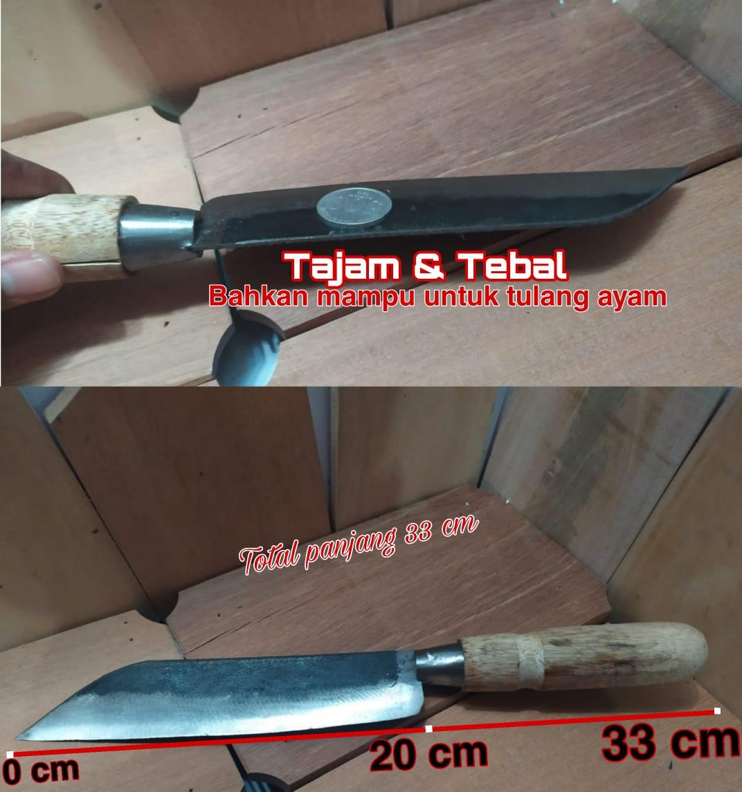 pisau baja tradisional pemotong daging cincang sayur tulang ayam kuat tajam bilah 19 cm gagang kayu