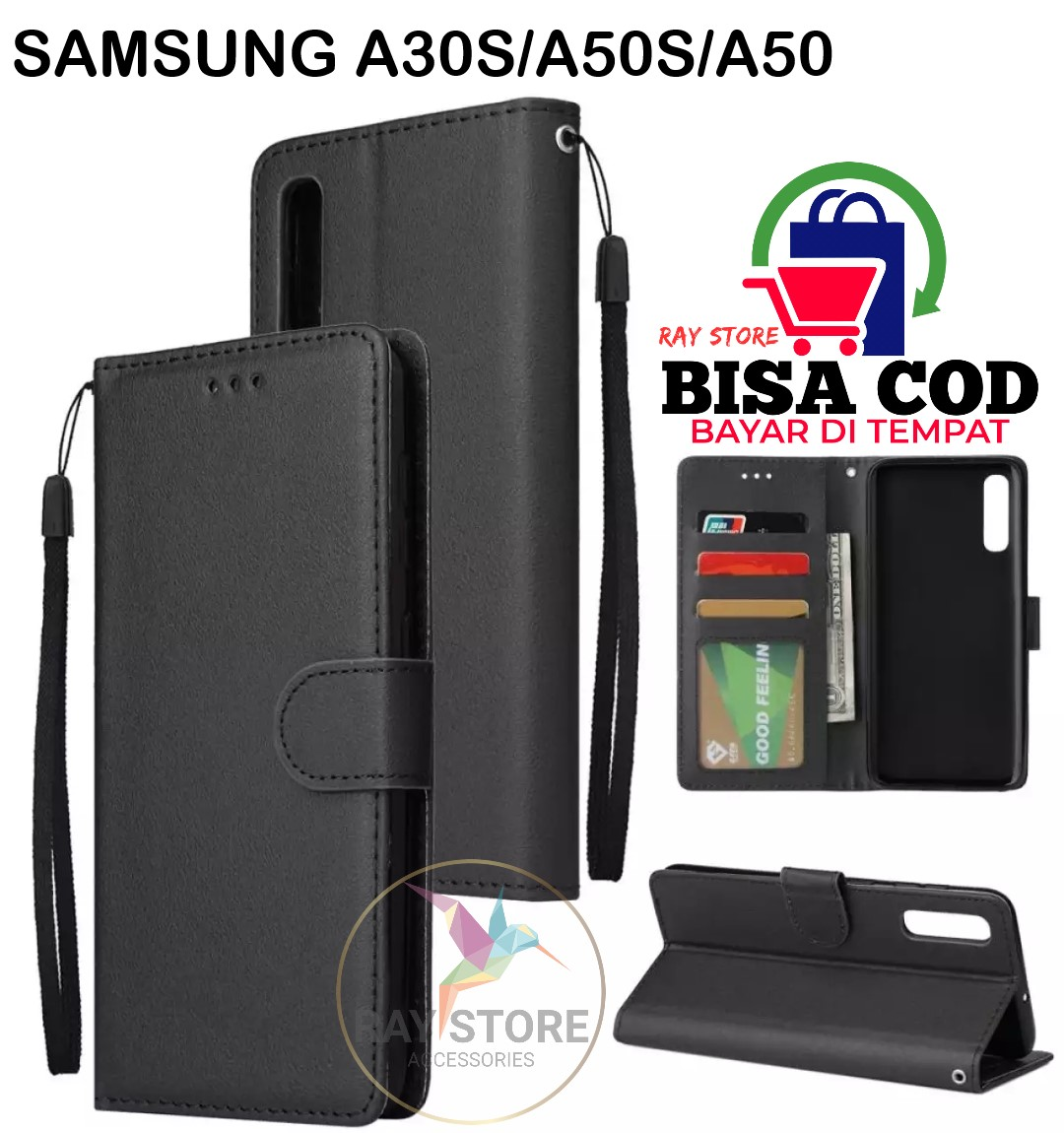 flip case wallet untuk samsung a20s-flip cover kulit sarung buku dompet samsung a20s