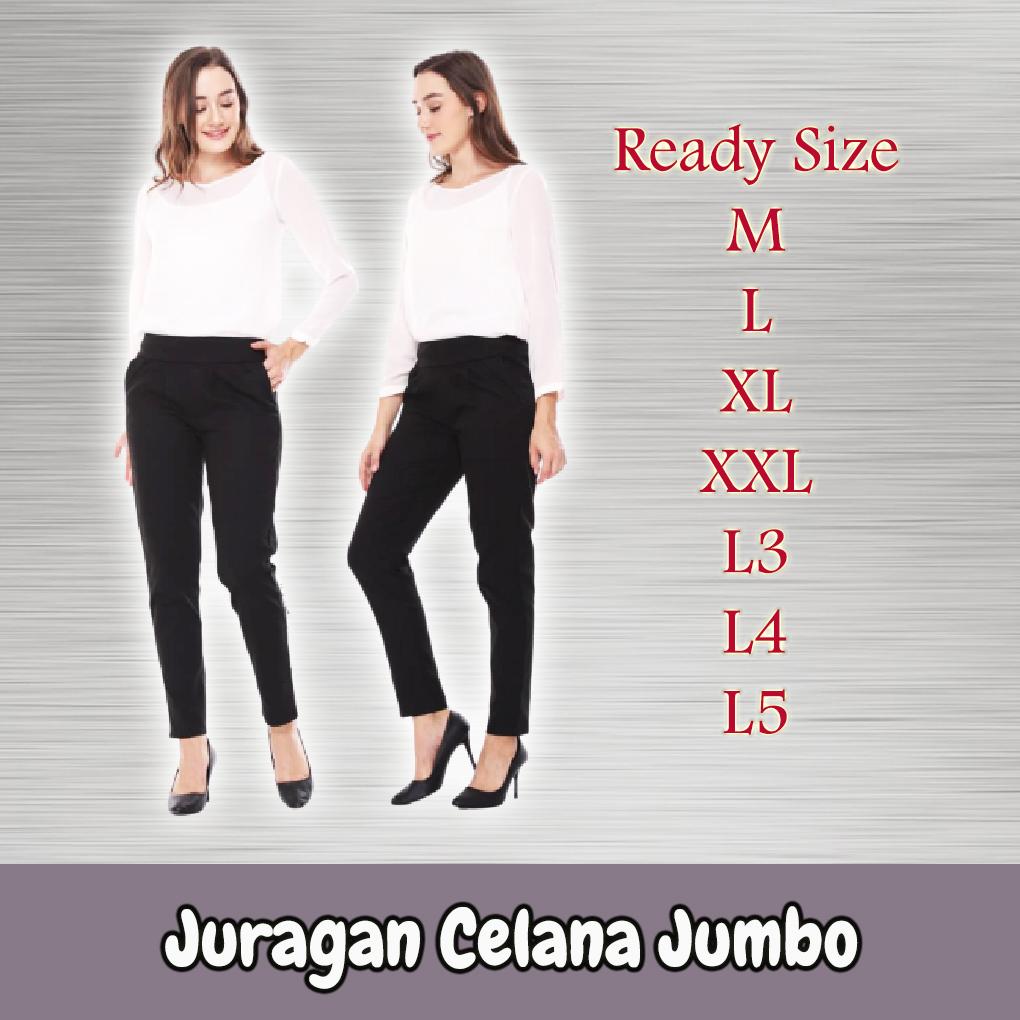 promo celana kerja kantor wanita jumbo pinggang karet melar kekinian  2020 celana wanita celana bahan wanita panjang