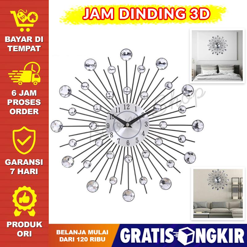 mewah – jam dinding unik 3d berlian besar jam dingding tembok quartz creative design model luxury diamond unik besar  bagus