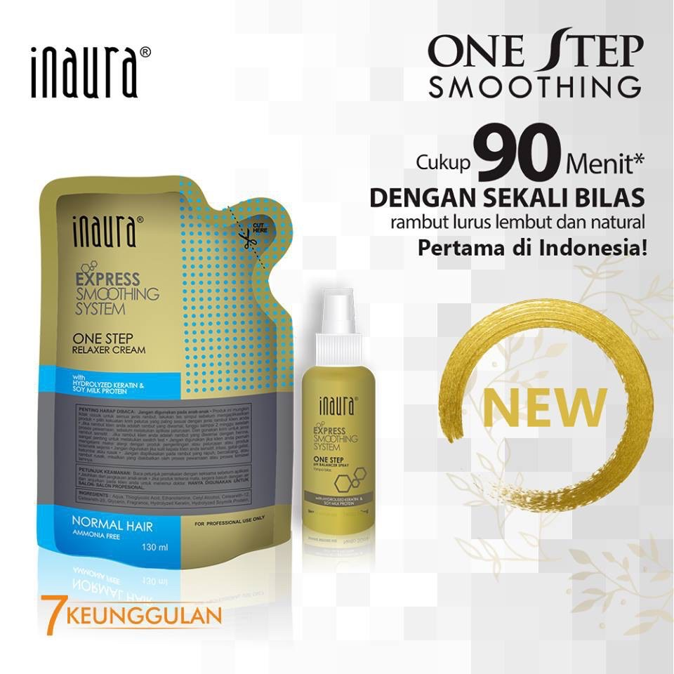 pelurus rambut permanen / smoothing hair permanent / inaura one step express smoothing system 130ml (normal)