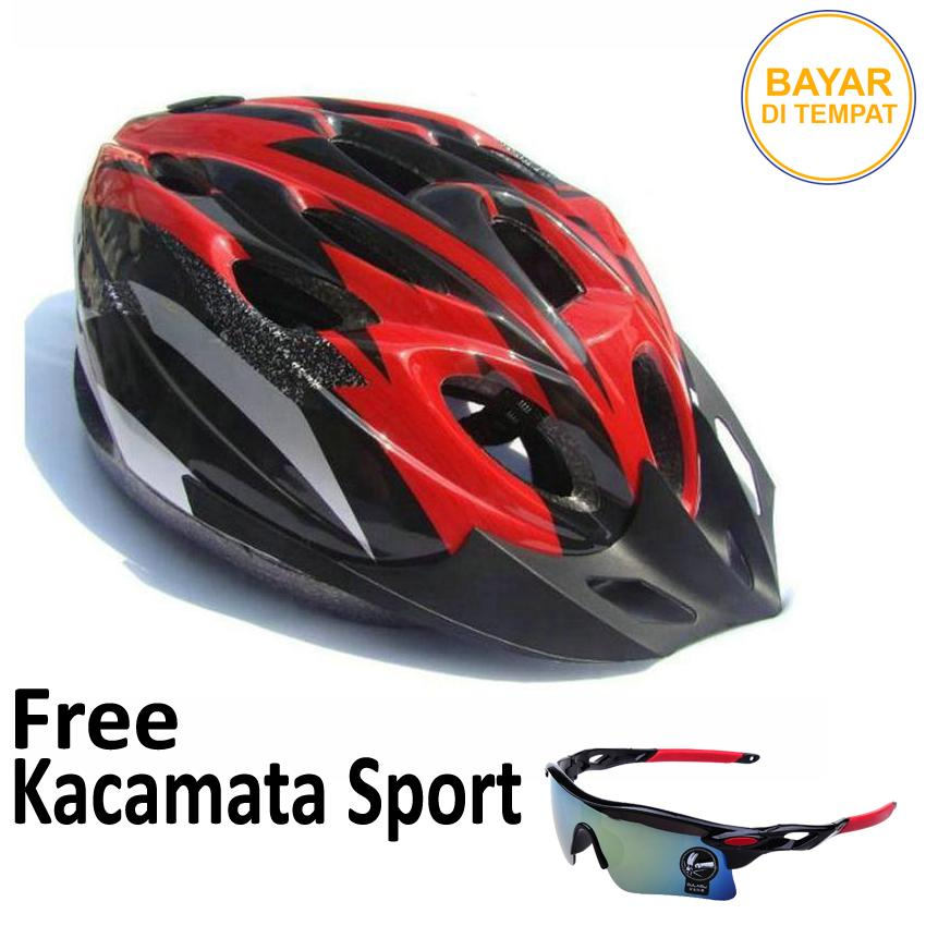[four-u official store] helm sepeda foam pvc safety free kacamata goes sporty