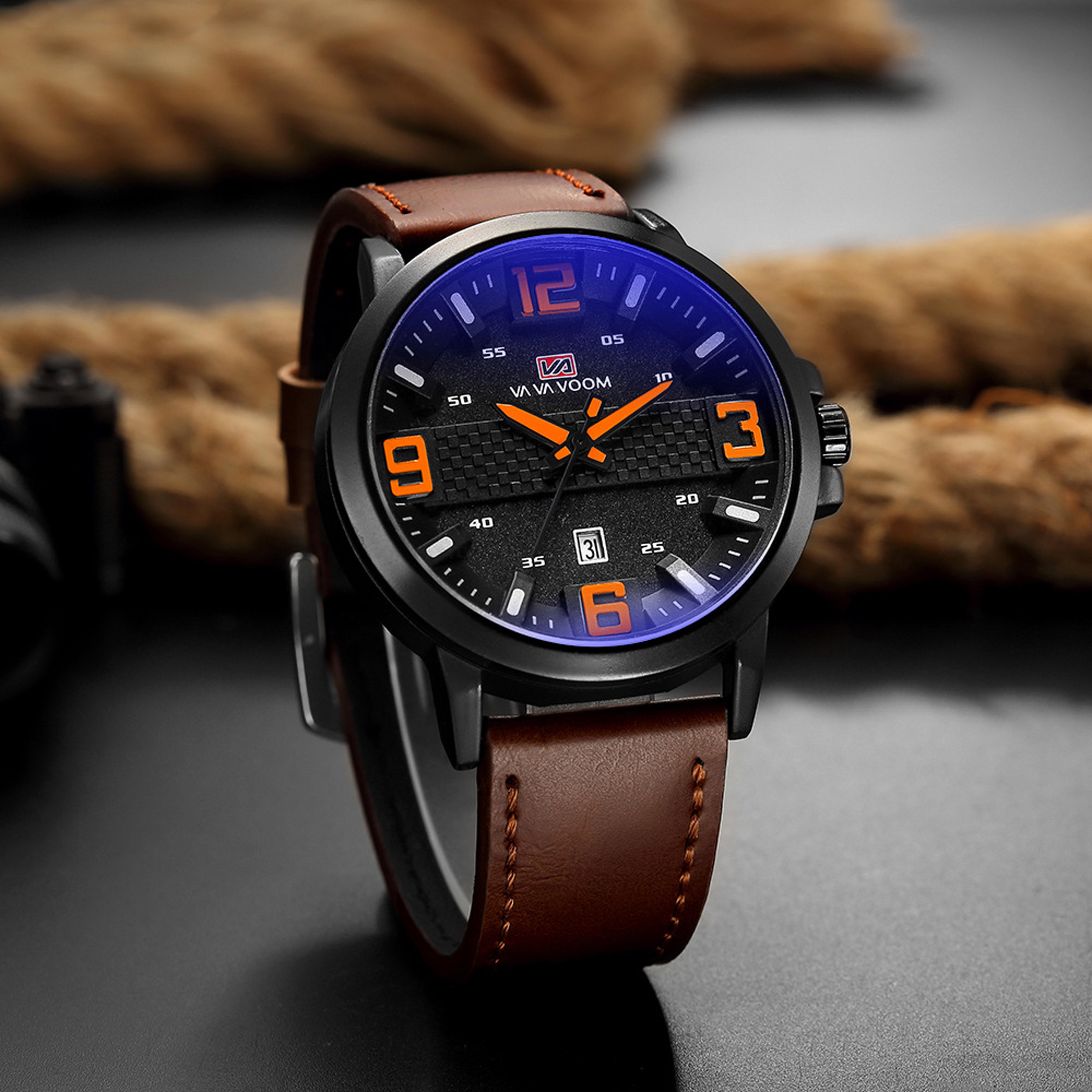 galery shop jam tangan pria  fashion jam tangan tali leather kaca kristal free box jam tangan anti air jam tangan quarts import ori vava02