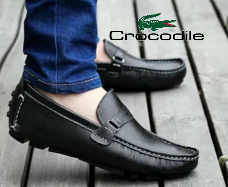 sepatu pria pantofel slip on slop kulit swedian formal kerja kantor crocodile rempel