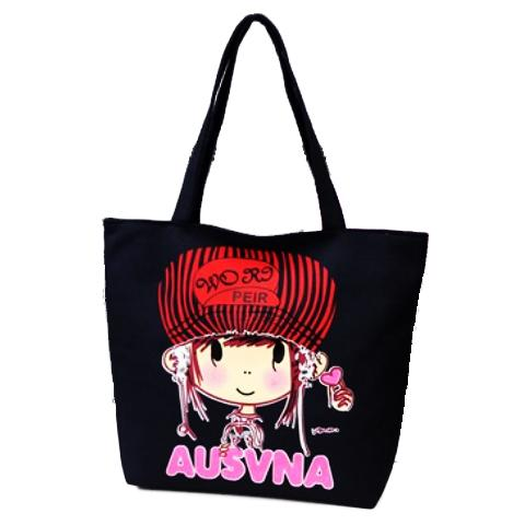 TC20 Black Canvas Tote Bag/Tas selempang/Tote bag Canvas/Tas & Travel/Tas Wanita/Tote Bag Wanita