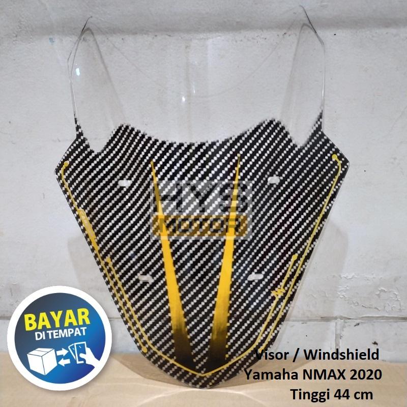 visor windshield karbon nmax old lama bahan acrylic akrilik tebal 3 mili tinggi 44 cm + gratis baut