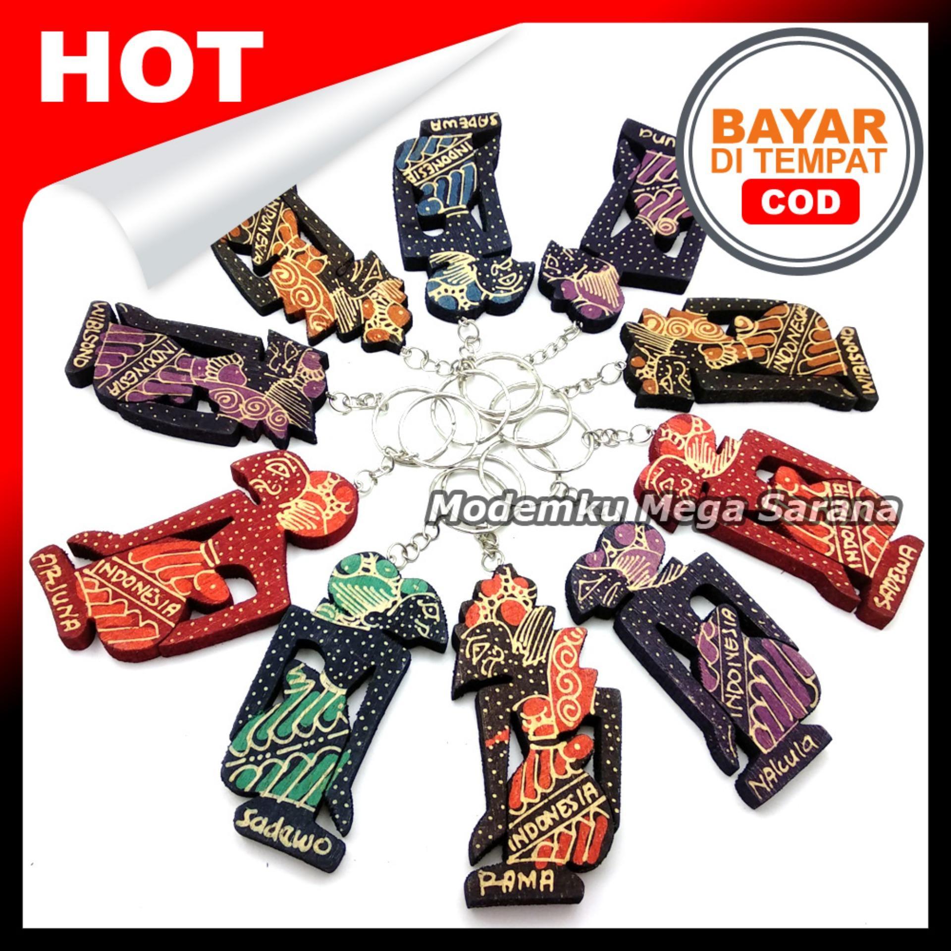 Gantungan Kunci Wayang Kayu Batik Indonesia - isi 10pcs