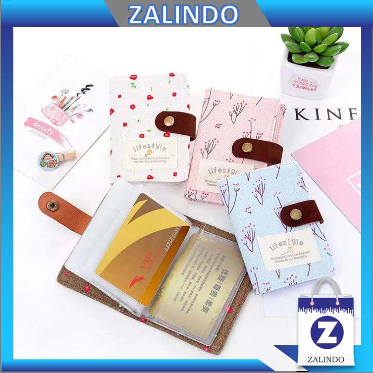 zalindo – dompet kartu motif bunga lifestyle / 10 lembar 20 slot kartu / dompet kartu wanita