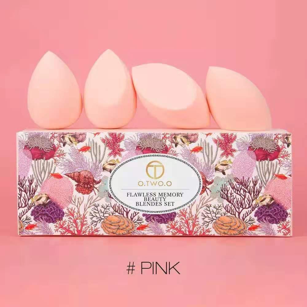 o.two.o 4pcs set spons puff profesional beauty blender foundation spon miring / spon egg / spon telur