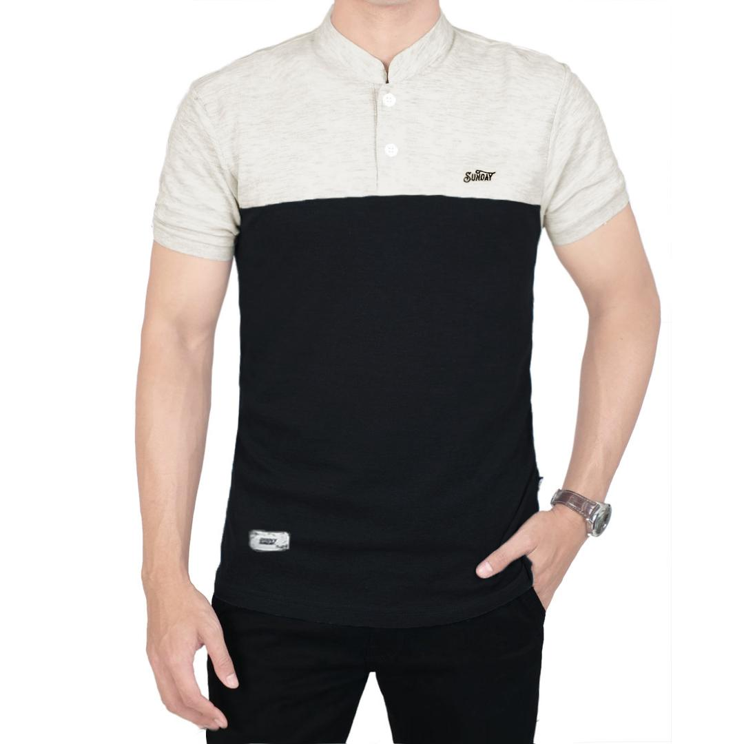Baju kece polo shirt hitam mix abu muda sanghai / abu muda mix hitam sanghai pria