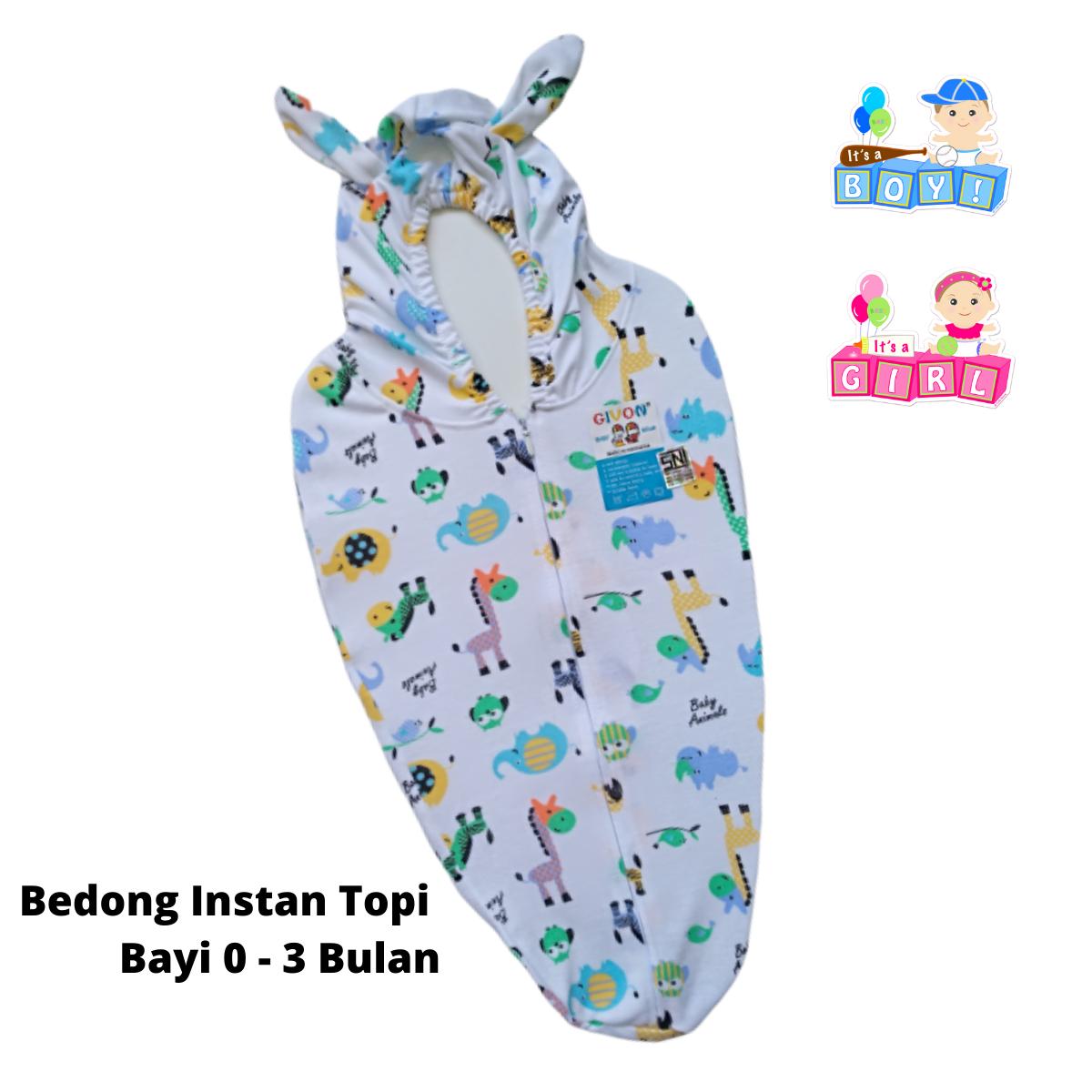 bedong instan topi bayi dengan resleting – katun premium givon newborn  lahir bedong baby 0 –  3 bulan givon