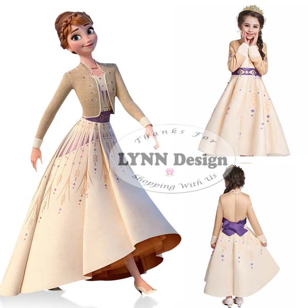 lynn design – baju dress kostum princess frozen 2 anna elsa anak