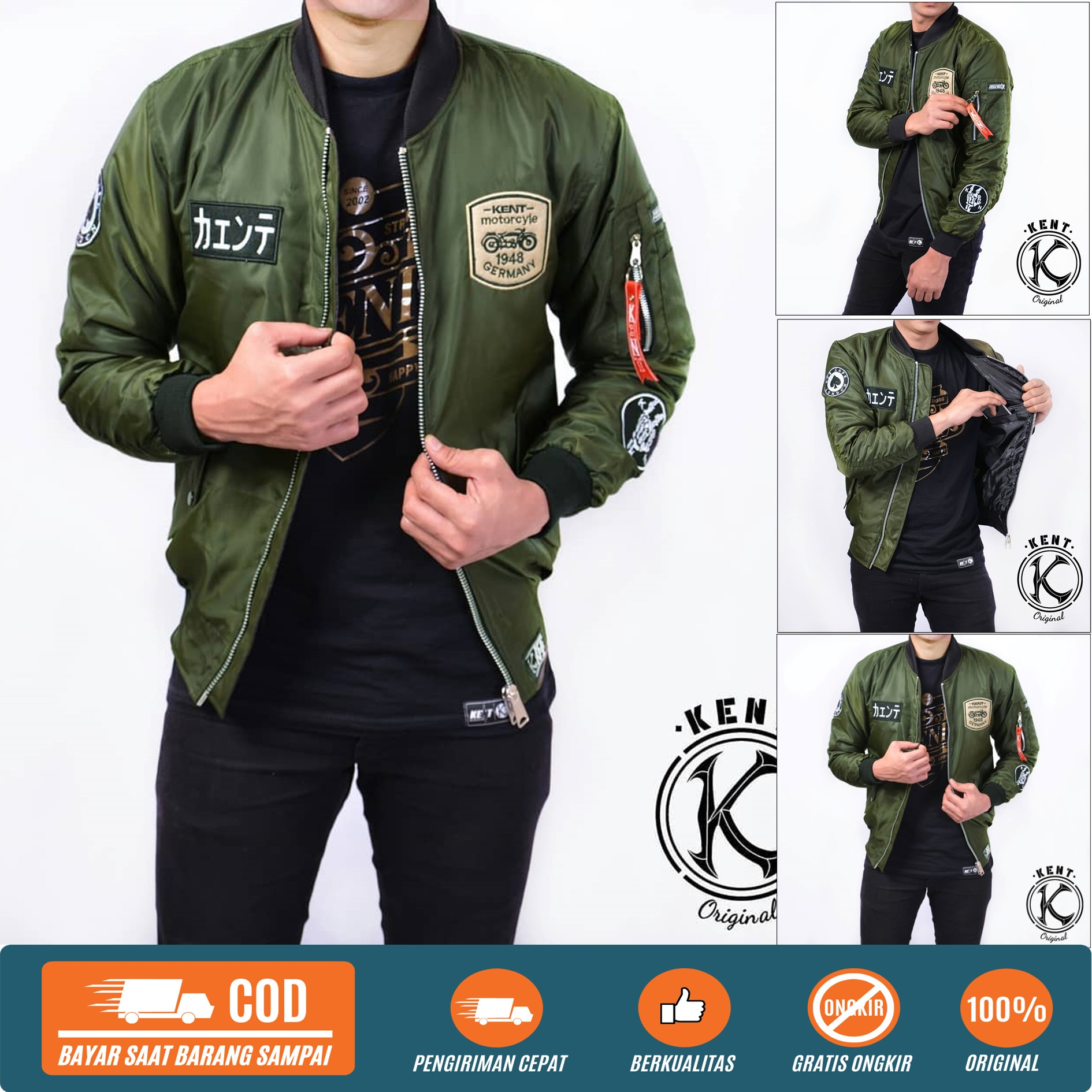 kent jaket bomber original pria  rider blueblack / hitam / maroon / hijau