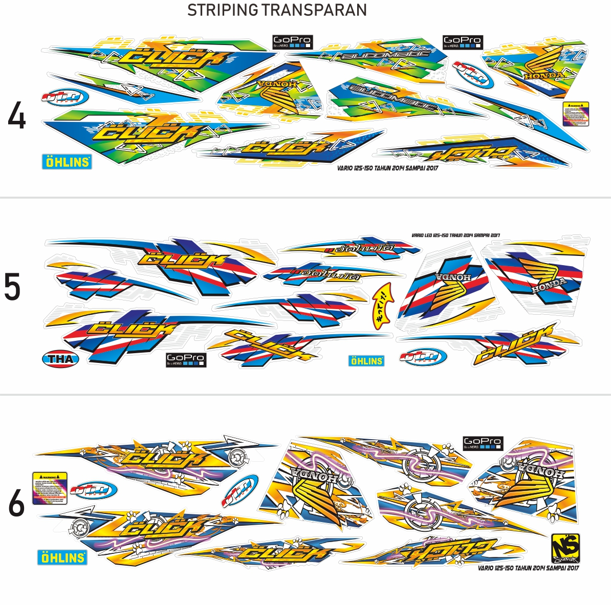 striping honda vario 125cc 150cc tahun --- transparan uv list sticker variasi honda vario led disen3