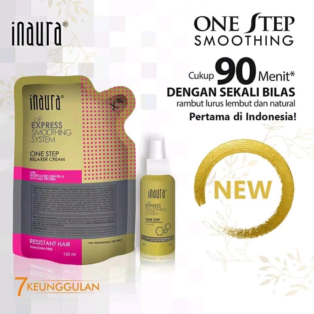 pelurus rambut permanen / smoothing hair permanent / inaura one step express smoothing system 130ml (resistant)
