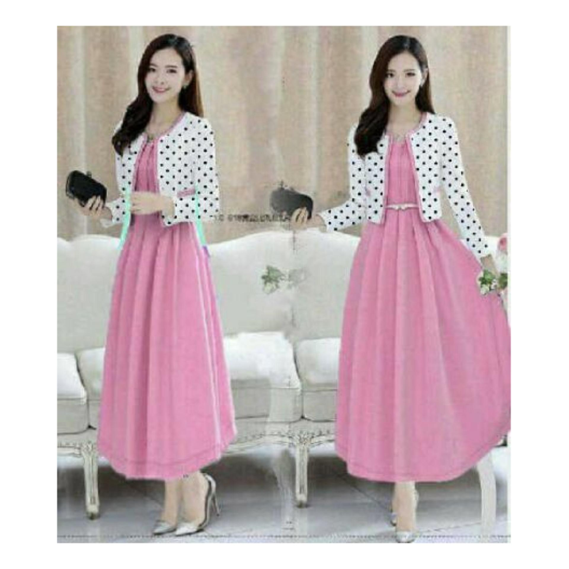 Baju Dress Maxi LILYN POLKA (Gratis Kardigan ) / Maxi Dress Muslim / Gaun Maxi