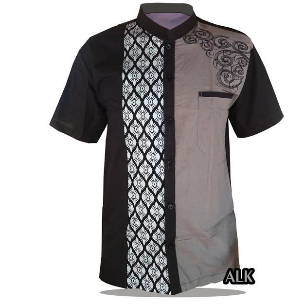 koko batik bordir abu pendek busana muslim