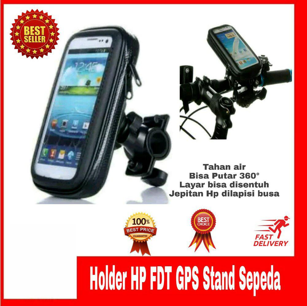 phone holder fdt untuk motor (jepit setang) waterproof – holder motor tahan air proteksi maksimal