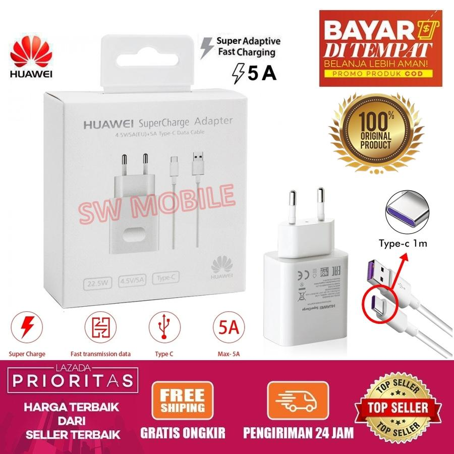 [gratis ongkir] charger huawei super charge / super fast charger 22.5w / 5a usb type c cable for huawei p30 pro / p20 / p10 / mate 30 pro / mate 9 / 10 / 20 pro