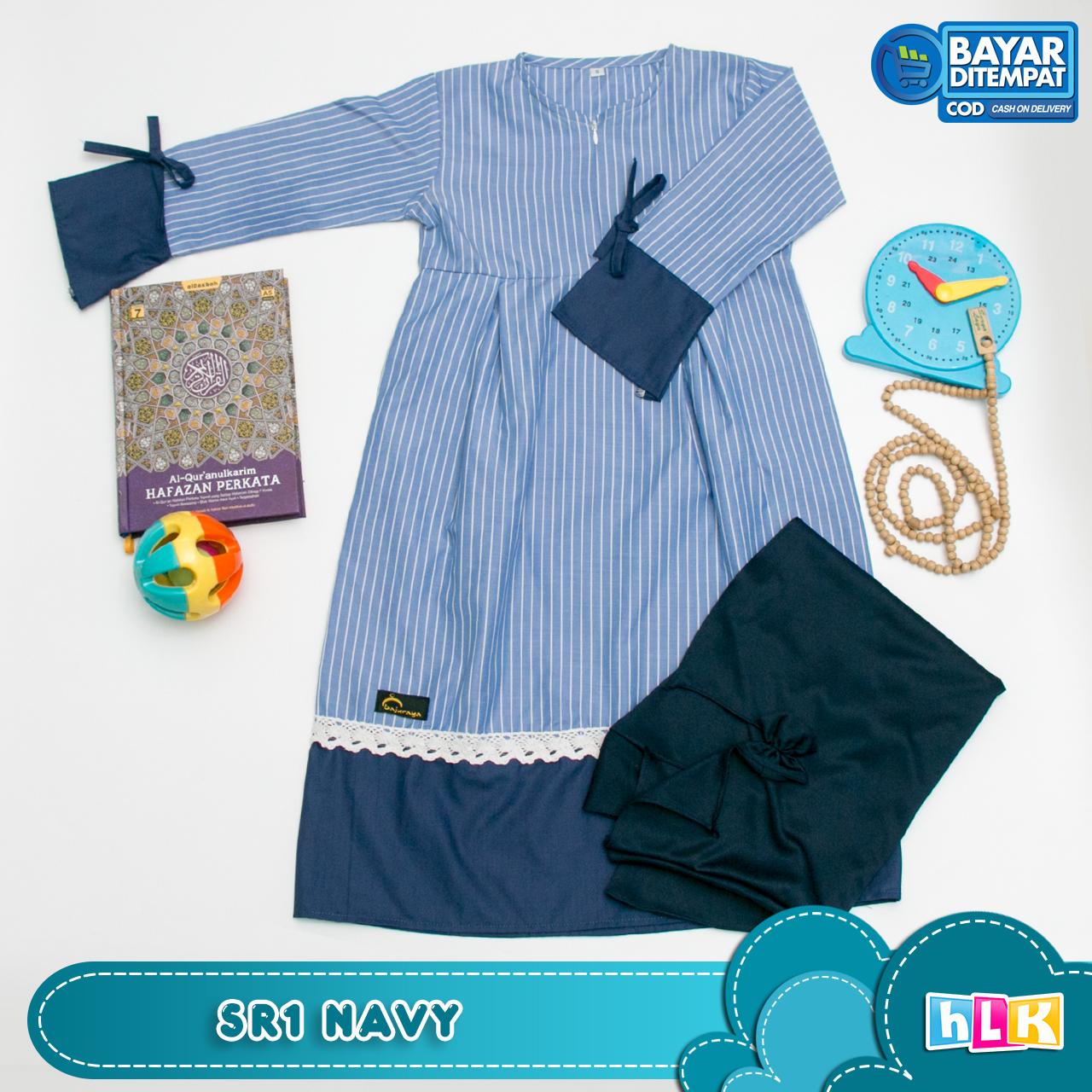 baju gamis anak strip renda dengan kerudung 3 sd 7 tahun