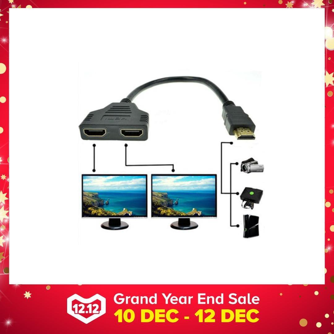 Baru 1080 P Port HDMI Male To 2 Perempuan 1 Di 2 Keluar Kabel Cabang Adaptor