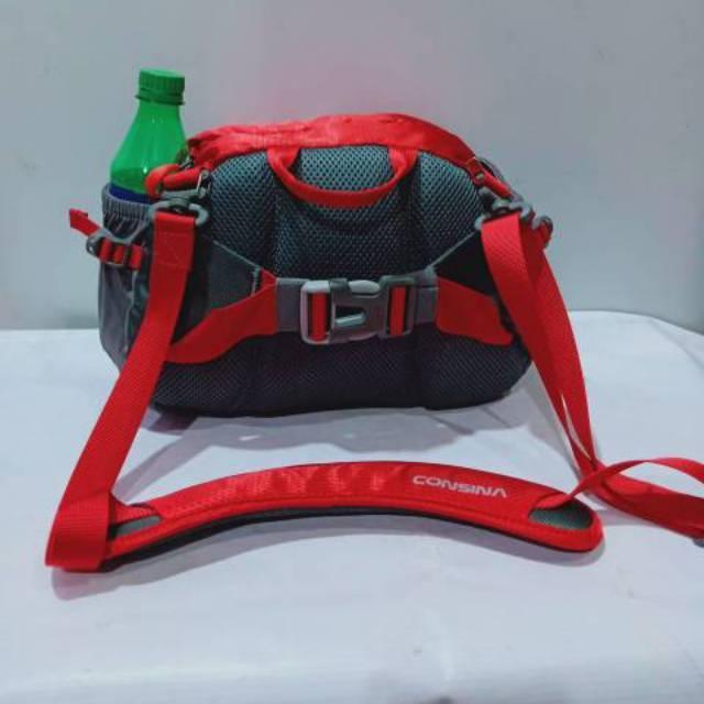 Tas selempang pinggang consina pasele merah kantong hitam - 4