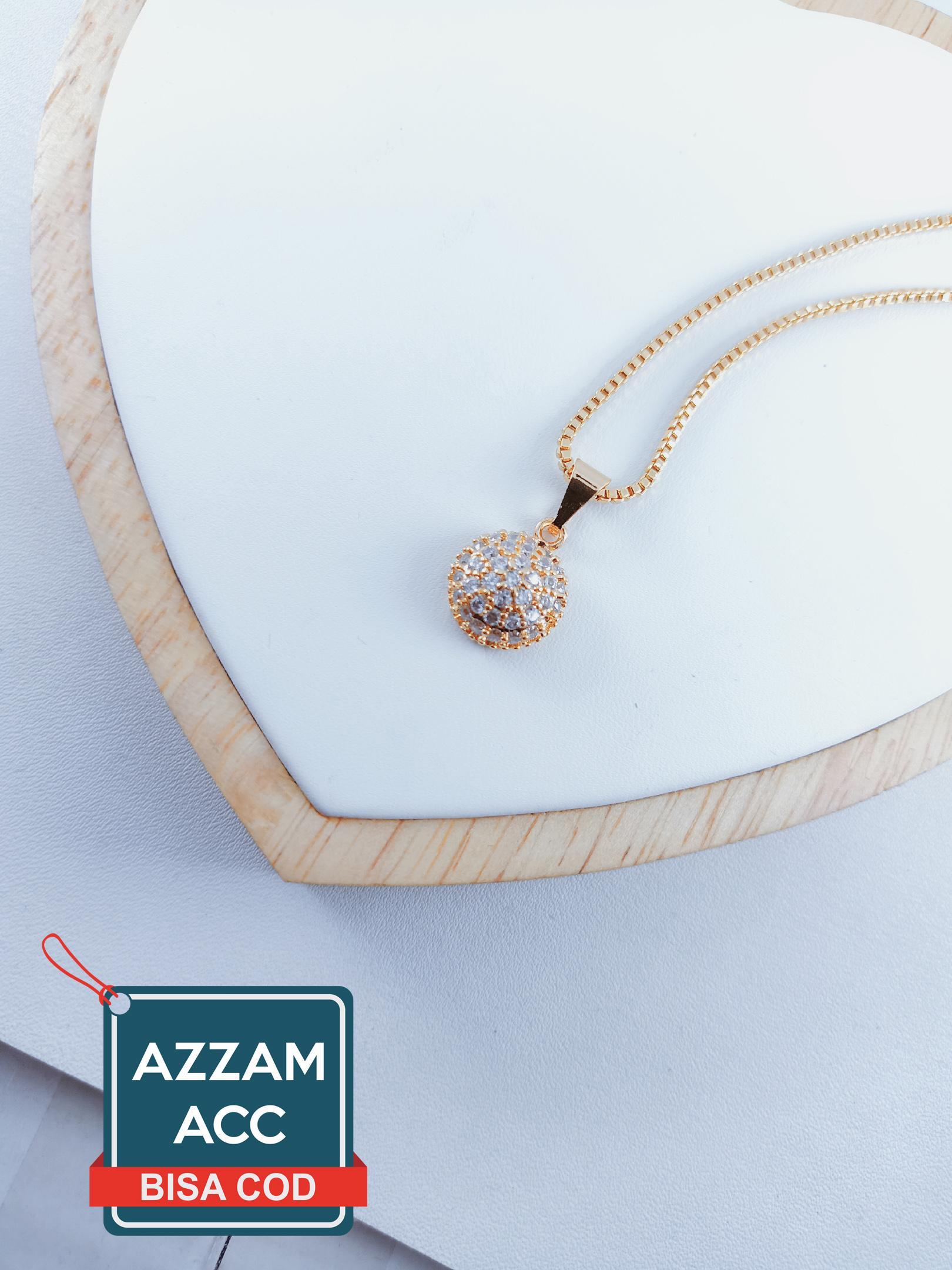 set perhiasan xuping kalung rantai liontin kotak permata dewasa lapis emas 18k 45cm 10