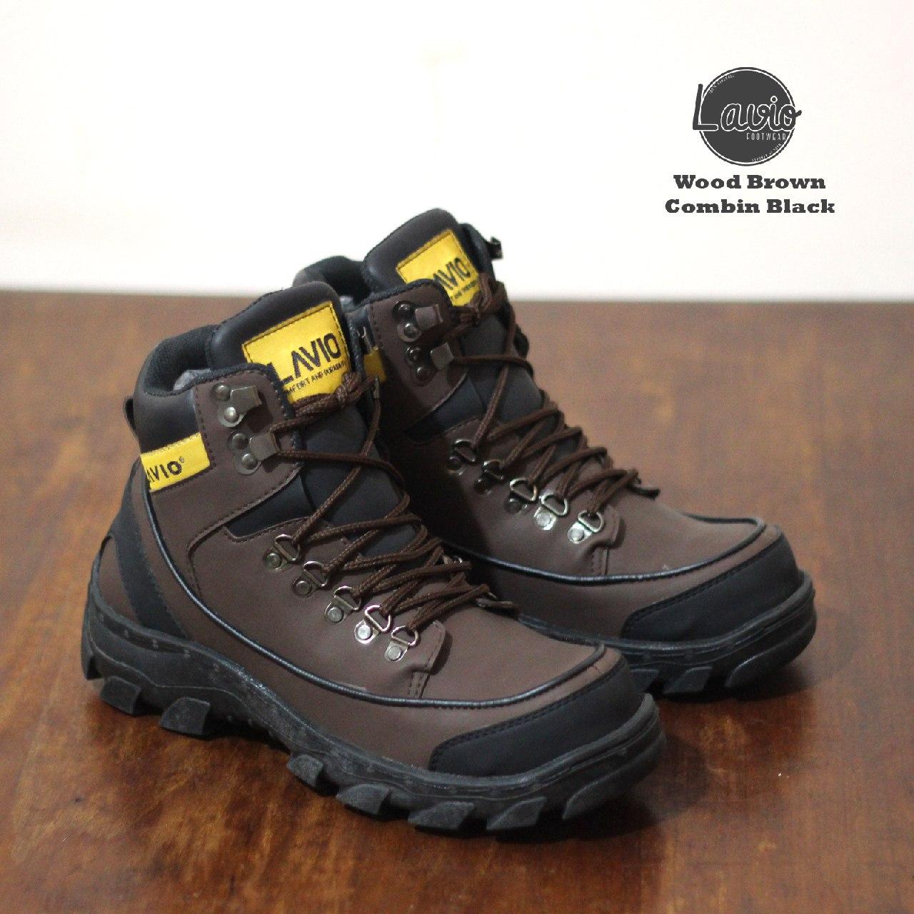 sepatu safety ujung besi lavio wood original berkualitas