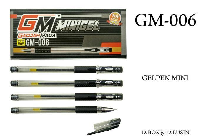 8 buah pulpen gm 006 gel pen 0.5 tinta hitam
