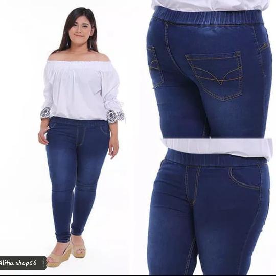 celana legging jeans wanita pinggang karet size 31~38 jumbo ready stok best er alifia shop86
