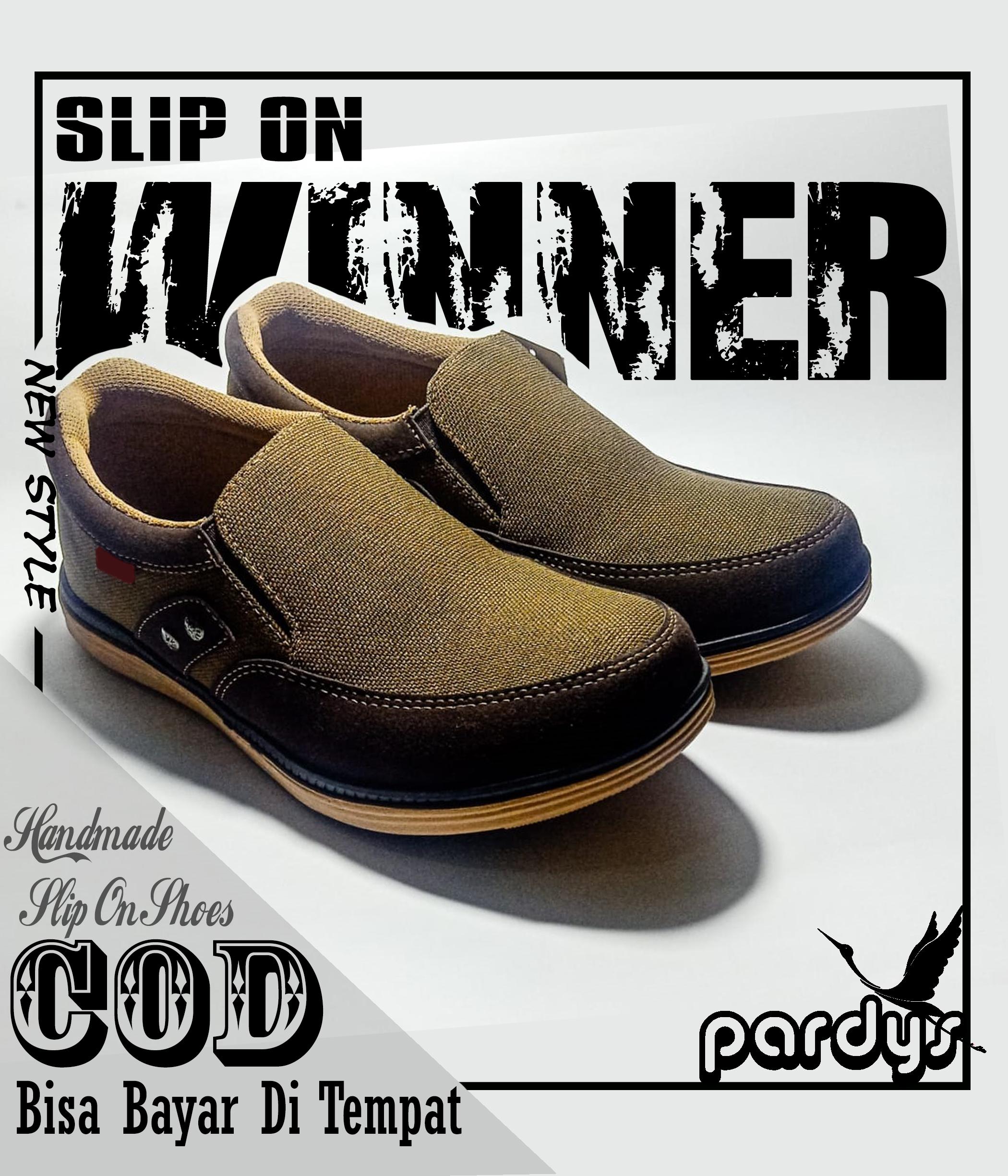sepatu slop slip on loafer bsp10 kets sneakers sniker cokelat coklat dark brown shoes kasual pria kanvas  terlaris   keren terawet simpel casual santai bahan bagor rajut [ pardys]