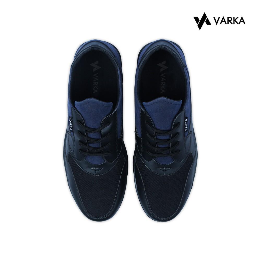 Detail Gambar Sepatu Kasual Pria V 153 Sepatu Semi Formal Pria Terbaru Brand Varka Murah Berkualitas Warna Hitam material Sintetis Mix Suede Warna Hitam ...