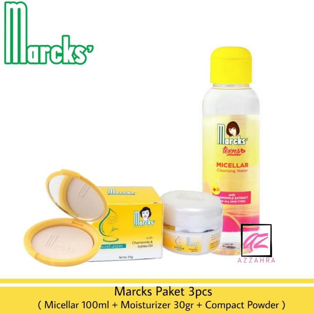 marcks paket perawatan remaja 3pcs ( micellar water 100ml + moisturizer 30gr + bedak compact powder )