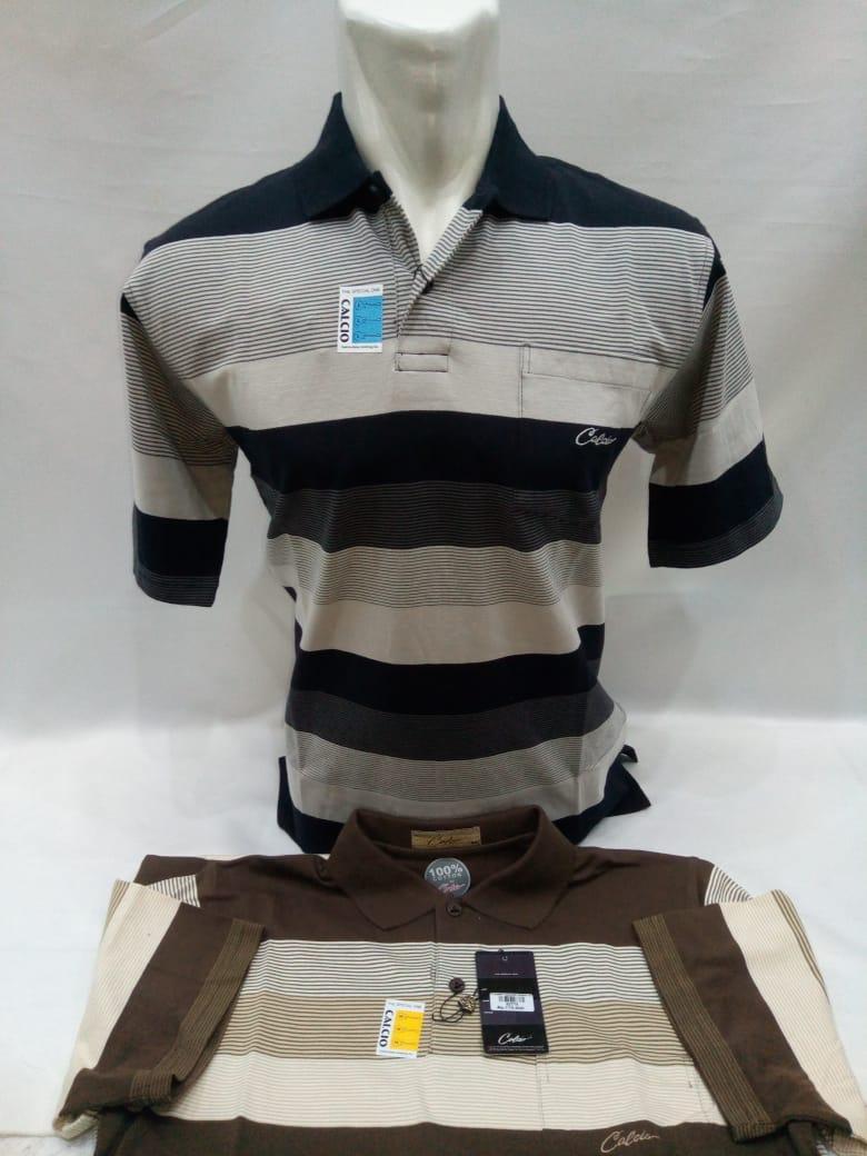 polo shirt pria / pakaian pria / kaos kerah pria / kaos garis-garis / kaos  / kaos tebal halus melar besar / kaos dewasa / t-shirt pria berkerah / pakaian pria garis-garis / baju merk calcio original