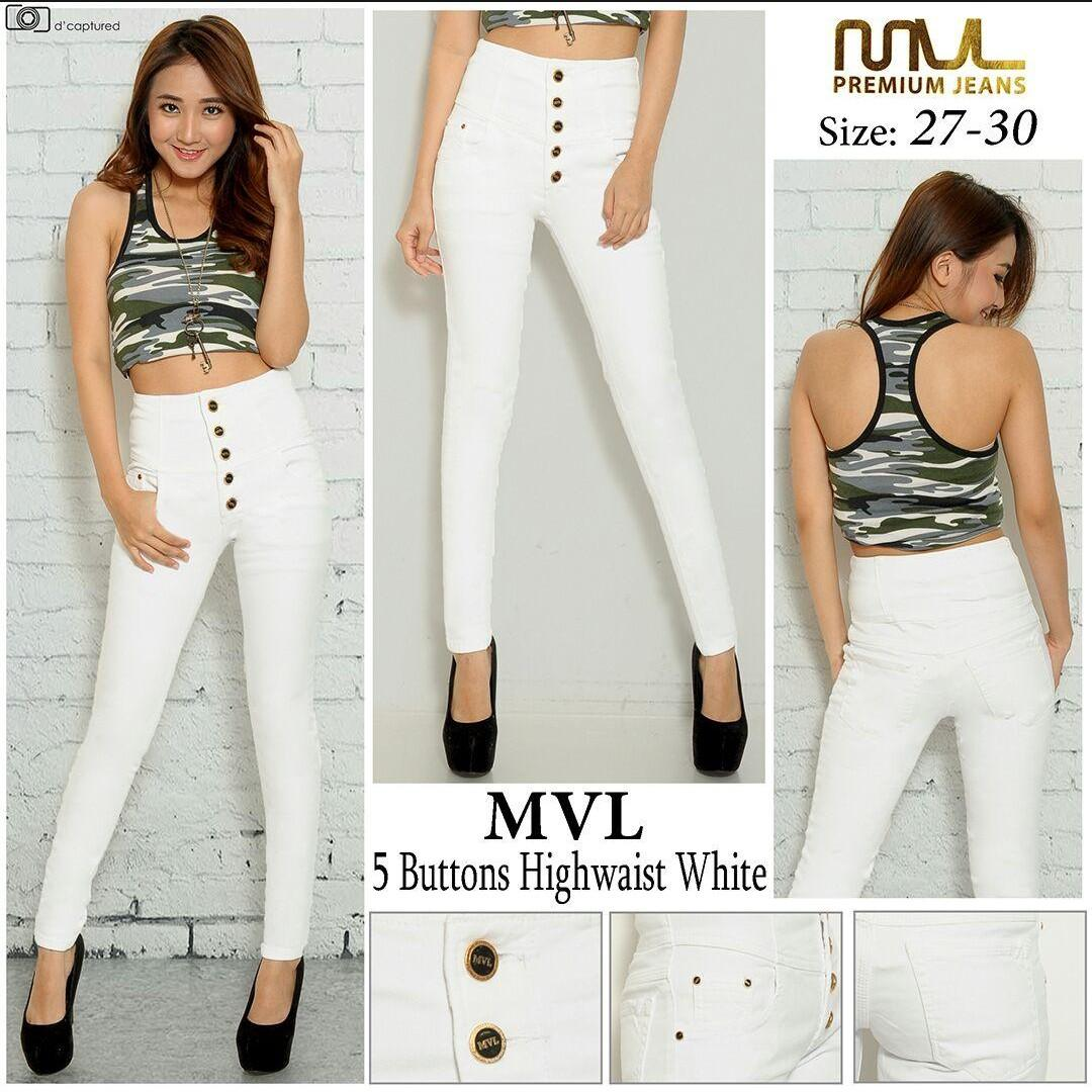 OZY - Jeans Wanita HighWaist Kancing 5 - SoftJeans Streetch